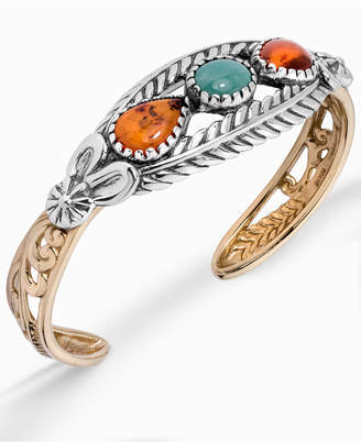 American West Two-Tone Amber and Turquoise Cuff Bracelet