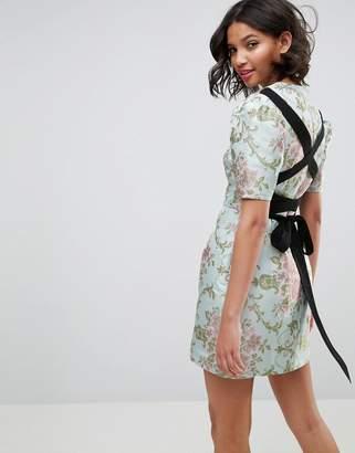 Asos DESIGN Premium Tie Back mini dress in Floral Jacquard