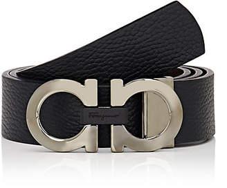 Salvatore Ferragamo Men's Double Gancini-Buckle Reversible Leather Belt - Black
