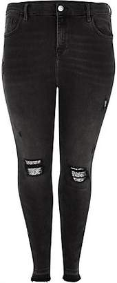 River Island Plus black Molly ripped glitter panel jegging