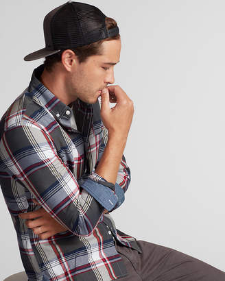 Express Slim Soft Wash Plaid Button Collar Shirt