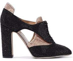 Valentino Two-Tone Crystal-Enbellished Suede Pumps