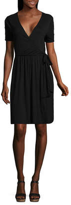 Spense Short Sleeve Embellished Wrap Dress
