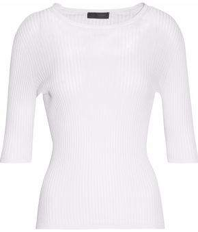 Calvin Klein Collection Ribbed Cotton And Silk-Blend Top