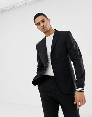 Solid party suit blazer with stripe cuff sleeve in black