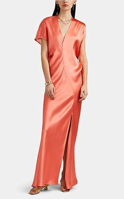 Zero Maria Cornejo Women's Laila Asymmetric Satin Dress - Coral