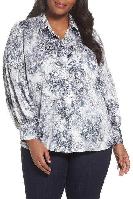 Speckled Print Blouse (Plus Size)