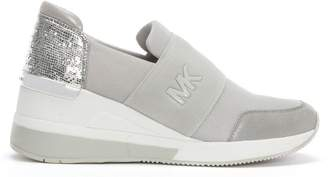 Michael Kors Felix Reptile Silver Wedge Trainers