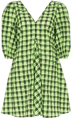 Ganni check puff-sleeve dress