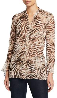 4942367eaf35 Elie Tahari Chava Tiger Stripe Button-Down Long-Sleeve Blouse