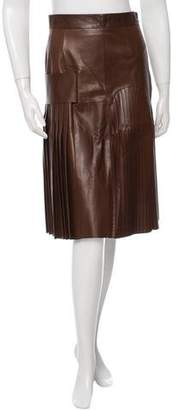 Givenchy Leather Pleated Skirt