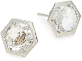 clear Jac + Jo Bolt 925 Sterling Silver and Topaz Stud Earrings