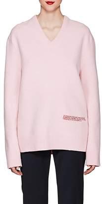 Calvin Klein Women's Embroidered-Logo Wool-Cotton Sweater