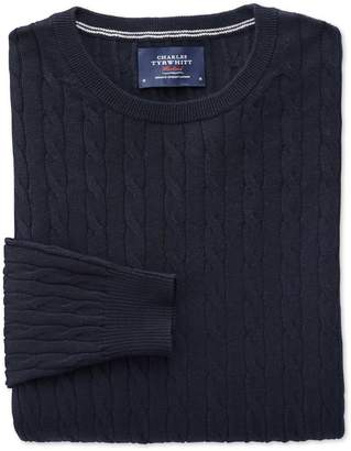 Charles Tyrwhitt Navy Cotton Cashmere Cable Crew Neck Cotton/Cashmere Sweater Size Large