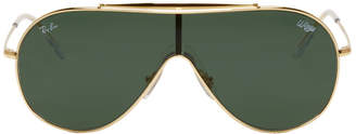 Ray-Ban Gold and Green Pilot Wings Sunglasses