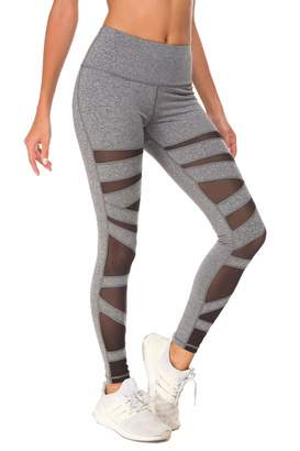 831fcaefd6b94 QUEENIEKE Women Mesh Leggings Gym Yoga Tights Mid Waist Running Pants Size  XL Color