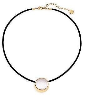Majorica Women's Stainless Steel, Leather & 20MM White Flat Coin Man-Made Pearl Necklace