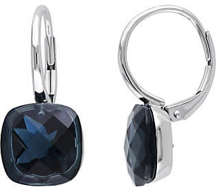Bac QVC 14K Gold 10.50 cttw London Blue Topaz Lever k Earrings