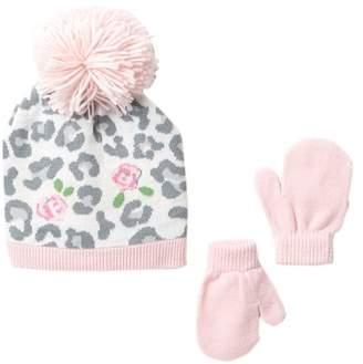 Little Me Floral Leopard Knit Hat & Mittens Set