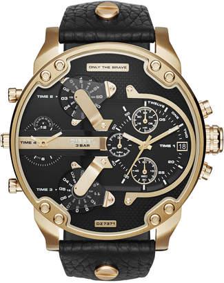 Diesel Men's Chronograph Mr. Daddy 2.0 Black Leather Strap Watch 57x66mm DZ7371