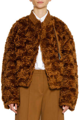 Jil Sander Zip-Front Furry Mohair Bomber Jacket w Elastic Band Collar