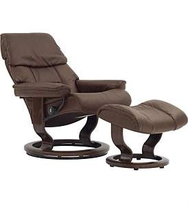 Stressless Small Ruby Chair With Foot Stool - Paloma Chocolate