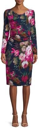 David Meister Women's Floral-Print Long-Sleeve Dress