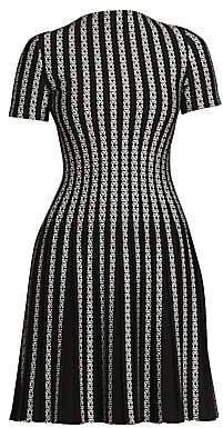 Alaia Women's Plissé Twist Short-Sleeve Knit Wool-Blend A-Line Dress