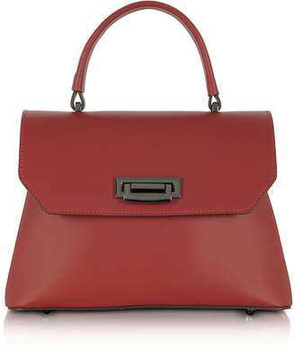 Le Parmentier Lutece Burgundy Leather Top Handle Satchel Bag