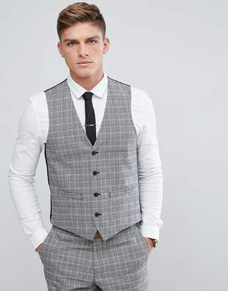 French Connection Prince Of Wales Blue Check Slim fit Vest