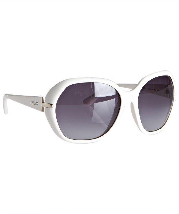Prada white acrylic round oversize sunglasses