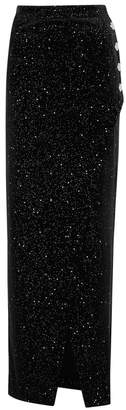 Balmain Black Glittered Velvet Maxi Skirt