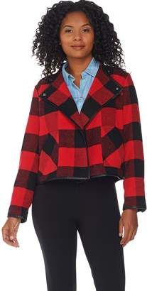 Denim & Co. Studio by Buffalo Plaid Printed Drape Front Jacket