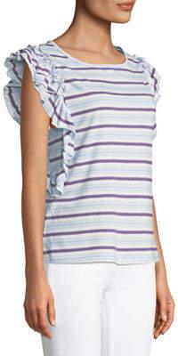 Free Generation Striped Ruffle-Trim Cap-Sleeve T-Shirt