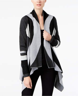 INC International Concepts I.N.C. Printed Asymmetrical Cardigan, Created for Macy's
