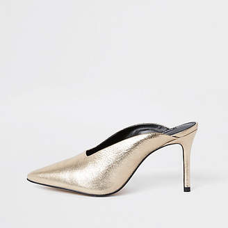River Island Gold leather pointed toe slim heel mules