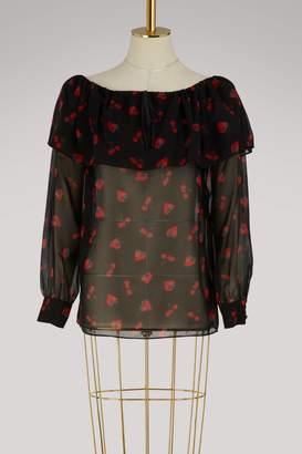 Miu Miu Strawberries print silk top
