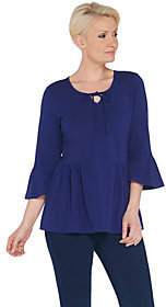 Denim & Co. Scoop Neck 3/4-Bell Sleeve Top w/Shirring Detail