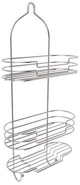 Lavish Home Tall Shower Caddy with Shelves and Hooks- Showerhead Bath Organizer with Non Slip Grip and Rustproof Corrosion Resistant Satin Finish by Somerset Home