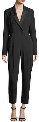 A.L.C. Kensington One-Button Cutout-Back Skinny-Leg Crepe Jumpsuit