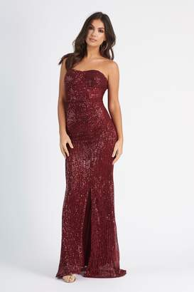 Club L Womens **Sequin Bandeau Fishtail Maxi Dress By Berry Red