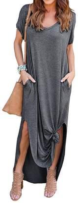 ZIOOER Women's Casual Loose Pocket Long Dress Short Sleeve Split Solid Color Maxi Dresses Grey XL