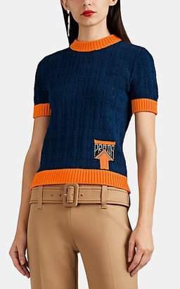 Prada Women's Logo Cotton-Blend Crochet Short-Sleeve Sweater - Blue