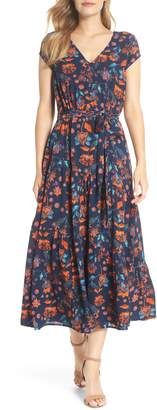 Maggy London Smock Shoulder Floral Crepe Midi Dress
