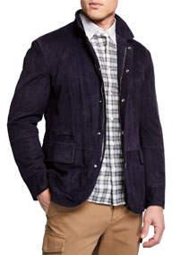 Men's Suede Button-Up Jacket