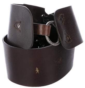 Henry Beguelin Leather Ponyhair-Accented Belt