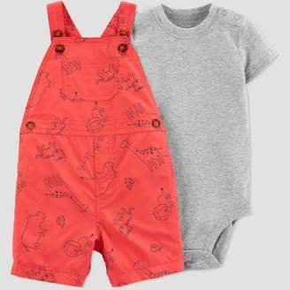 Carter's Just One You made by carter Baby Boys' 2pc Animals Shortall Set - Just One You® made by Red/Gray