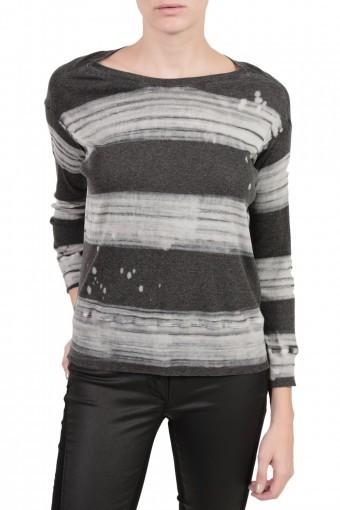 RAQUEL ALLEGRA Rib Drop Shoulder Tee - Painter Stripe Black