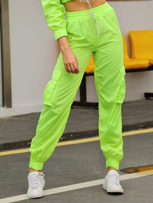 Shein Double Crazy Neon Green Cargo Pants