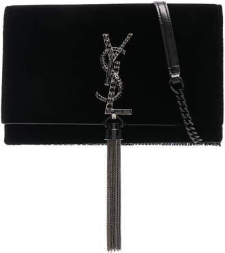 Saint Laurent Crystal Logo Velvet Kate Tassel Chain Wallet